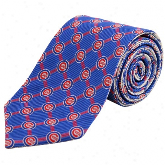 Chicago Cubs Royal Blue-white Home And Away Reversible Silk Necktie