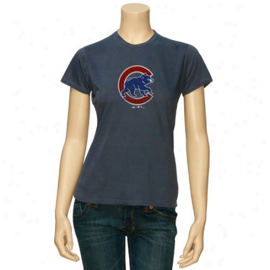 Chicago Cubs Shirt : Majestic Chicago Cubs Ladies Heather Blue Cooperstown Bif Time Play Shirt