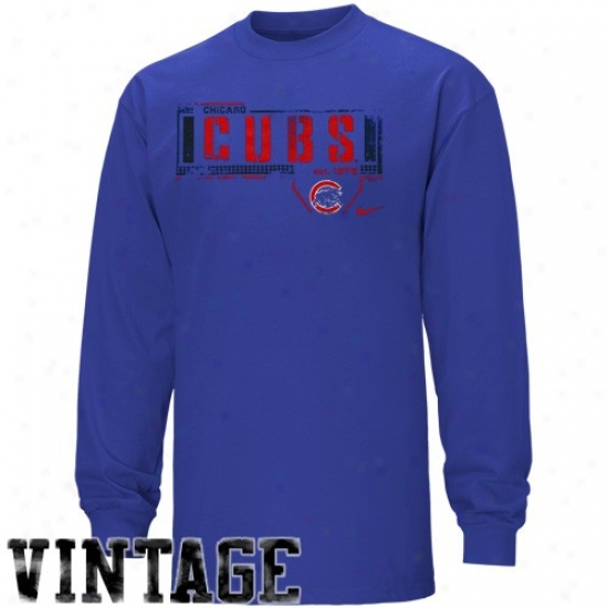 Chicago Cubs Shirt : Nike Chicago Cubs Royal Blue Looping Liner Long Sleeve Vinage Shirt