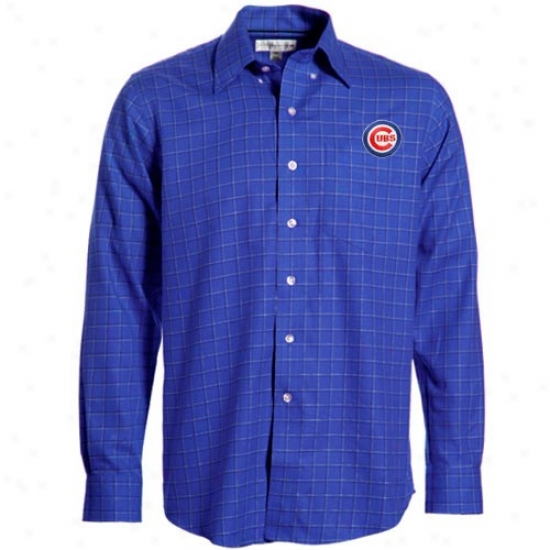 Chicago Cubs Shirts : Cutter & Buck Chicago Cubs Royal Blue Confreence Check Woven Long Sleeve Dress Shirts