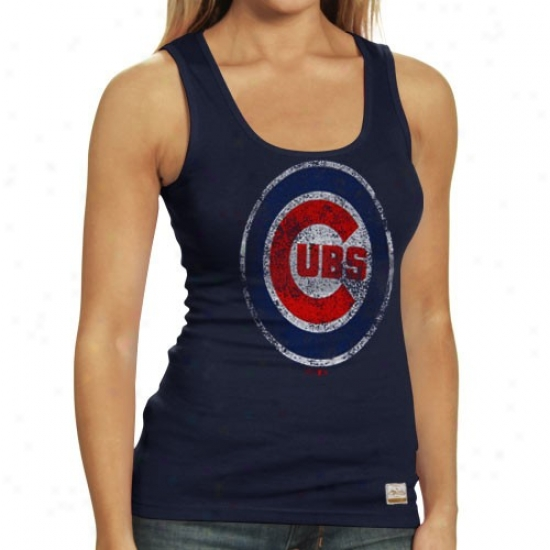 Chicago Cubs Shirts : Majestic Select Chicago Cubs Ladies Navy Blue Racer Vimtage Premium Tank Top