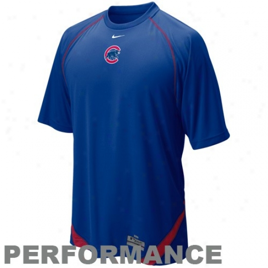 Chicago Cubs Shrts : Nike Chicago Cubs Imperial Blue Mlb Dri-fit Performance Training Top