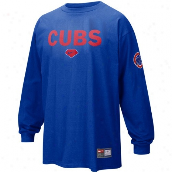 Chicago Cubs Shirts : Nike Chicago Cubs Royal Blue Practice Long Sleeve Shirts