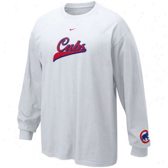 Chicago Cubs Shirts : Nike Chicago Cubs White Slider Long Sleeve Shirts