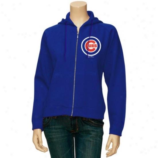 Chicago Cubs Sweat Shirt : Splendid Chicago Cubs Ladies Royal Blue Rally Full Zip Sweat Shit