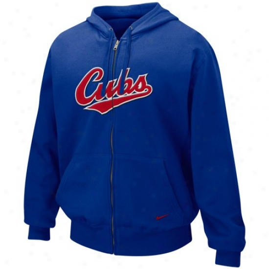 Chicago Cubs Sweat Shirts : Nike Chicago Cubs Royal Blue Tackle Twill Full Zip Sweat Shirts