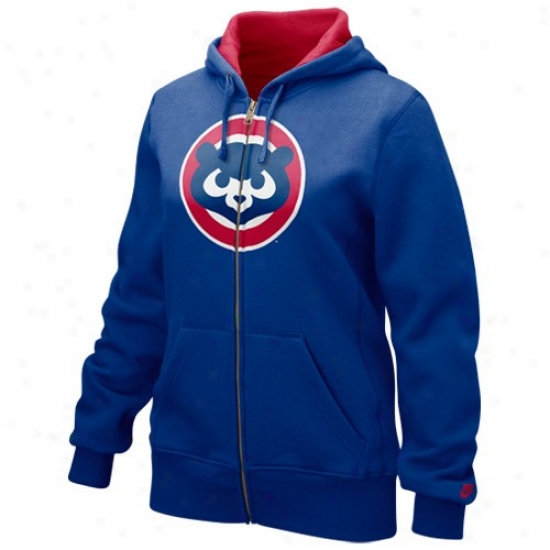 Chicago Cubs Sweatshirts : Nike Chicago Cubs Ladies Royal Blue Cooperstown Classic Full Zip Sweatshirts