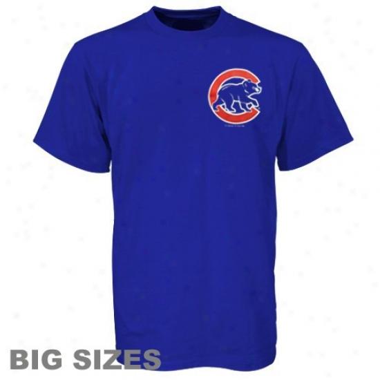 Chicago Cubs T Shirt : Chicago Cubs Royal Blue Big Sizes Wordmark T Shirt