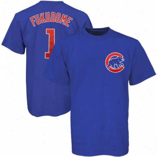 Chicago Cubs T-shirt : Majestic Chicaggo Cubs #1 Kosuke Fukudome Royal Blue Players T-shirt