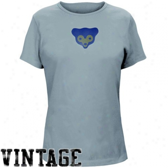 Chicago Cubs T Shirt : Majestci Chicago Cubs Ladies Light Blue Cooperstown Big Time Play T Shirt