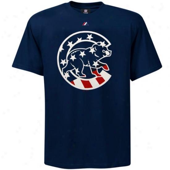 Chicago Cubs T-shirt : Majestic Chicago Cubs Navy Blue Stars & Stripes Logo T-shirt