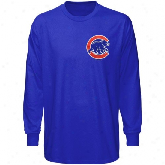 Chicago Cubs T Shirt : Majestic Chicago Cubs Royal Dismal Wordmark Long Sleeve T Shirt