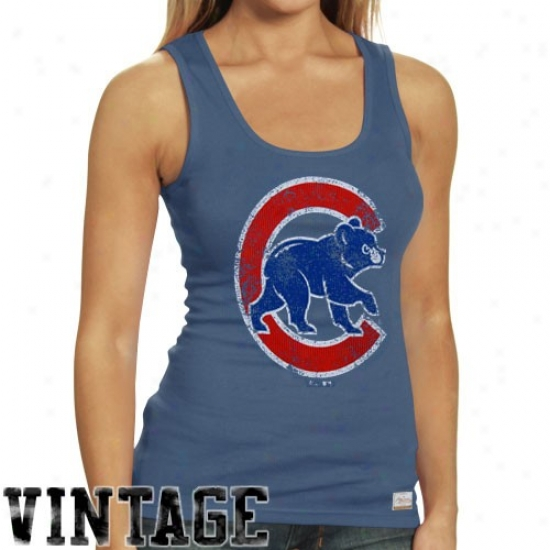 Chicago Cubs T Shirt : Majestic Select Chicago Cubs LadiesL ight Blue Racer Vintage Premium Tank Top