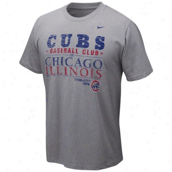 Chicago Cubs T Shirt : Nike Chicago Cubs Ash Campaign T Shirt