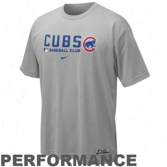 Chicago Cubs T-shirt : Nike Chicago Cubs Gray Nikefit Team Issue Performance Training Top