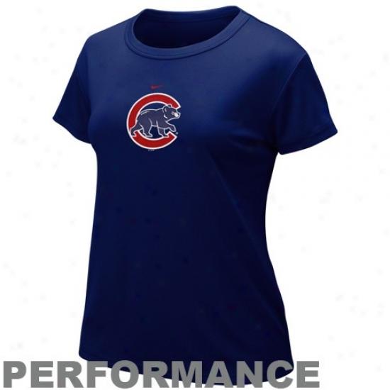 Chicago Cubs -Tshirt : Nike Chicago Cubs Ladies Kingly Blue Nilefit Logo Performance T-shirt