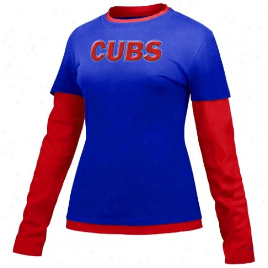 Chicago Cubs T-shirt : Nike Chicago Cubs Rlyal Blue Ladies Double ...