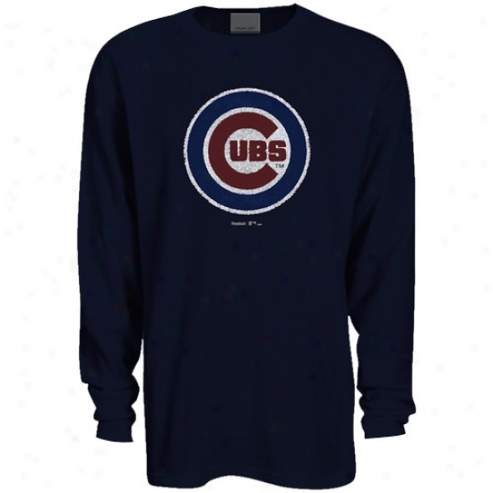 Chicago Cubs T Shirt : Reebok Chicago Cubs Navy Blue Faded Logo Long Sleeve Thermal T Shirt