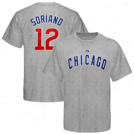 Chicago Cubs Tee : Majestic Chicagp Cubs #12 Alfonso Soriano Ash Player Tee