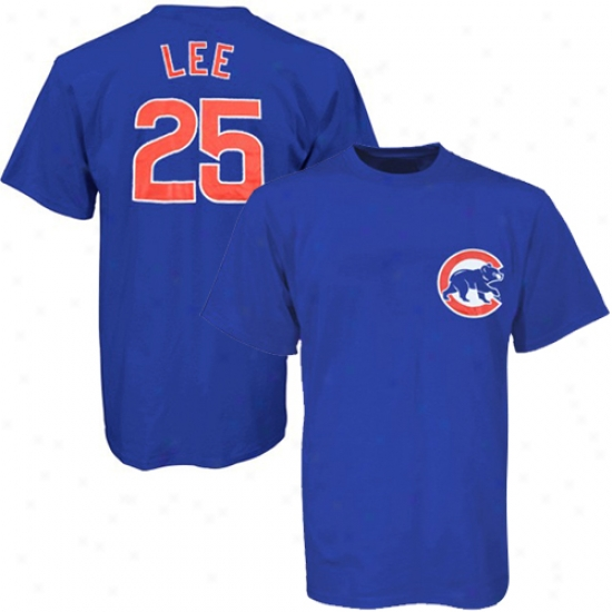Chicago Cubs Tee : Majestic Chicago Cubs #25 Derrek Lee Royal Blue Youth Player Tee