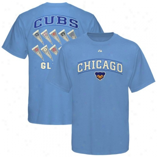 Chicago Cybs Tee : Majestic Chicago Cubs Light Blue Cooperstown Winning Results Tee