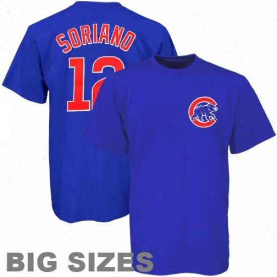 Chicago Cubs Tees : Majestic Chicago Cubs #12 Alfonso Soriano Royal Blue Player Big Sizes Tees