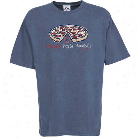 Chicago Cubs Tees : Majestic Chicago Cubs Heather Blue Stylin' Pigment Dyed Tees