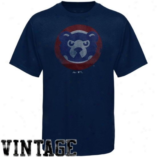 Chicago Cubs Tees : Majestic Chicago Cubs Navy Blue Cooperstown Logo Fashion Fit Tees