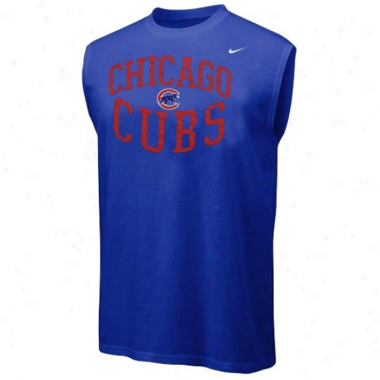 Chicago Cubs Tees : Nike Chicago Cubs Royal Blue Team Logo Sleeveless Tees