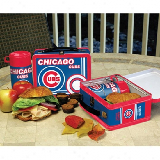 Chicago Cubs Tin-plate Lunch Strike  With Thermos