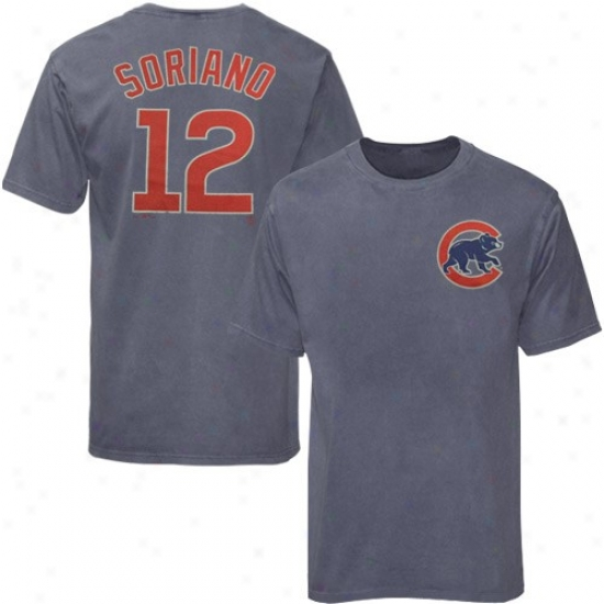 Chicago CubsT shirt : Majestic Chicago Cubs #12 Alfonso Soruano Ships of war Blue Player Garment Dyed Tshirt