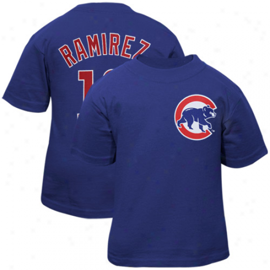 Chicago Cubs Tshirt : Majestic Chicago Cubs #16 Aramis Ramirez Royal Blue Youth Player Tshirt