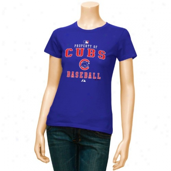 Chicago Cubs Tshirt : Majestic Chicago Cubs Ladies Royal Blue Property Tshirt