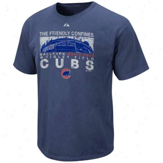 Chicago Cubs Tshidt : Majestic Chicago Cubs Navy Blue Bod Seats Pigment Dyed Tshirt