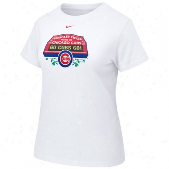 Chicago Cubs Tshirt : Nike Chicago Cubs Ladies White Wrigley Field Scoreboarrd Tshirt