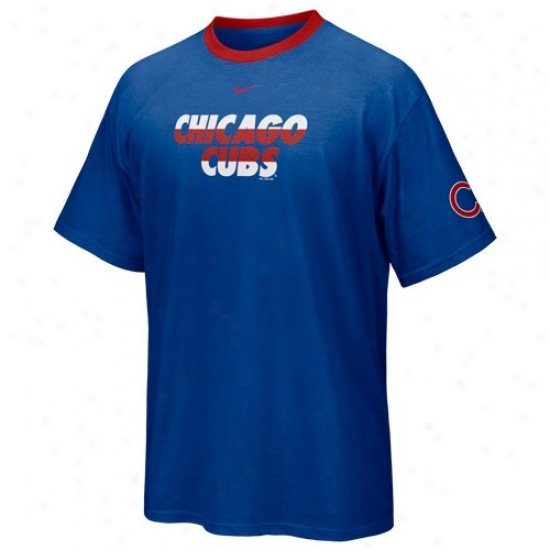 Chicago Cubs Tshirts : Nike Chicago Cubs Royal Blue Line Drive Set off by opposition Crew Tshirts