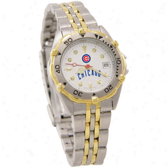 Chicago Cubs Watches : Chicago Cubs Ladies All Asterisk Watches W/stainless Steel Band