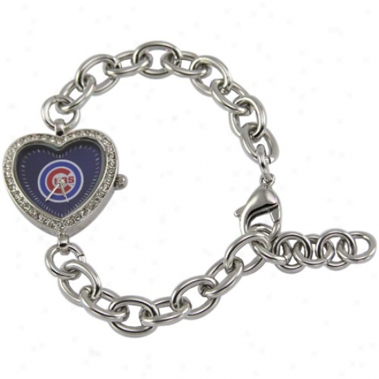 Chicago Cubs Watches : Chicago Cubs Ladies Silver Heart Watches