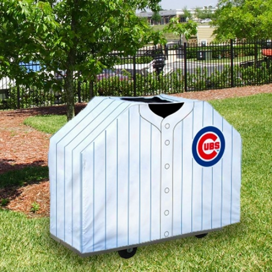 Chicago Cubs White Pinstripe Jersey Bbq Grill Cover