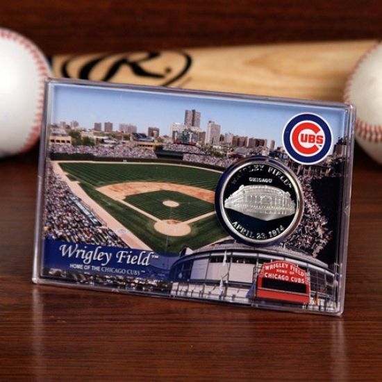 Chicago Cubs Wrigley Field Silver Plate Coin Card