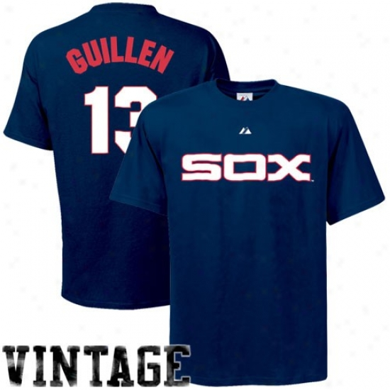 Chicago White Sox Apparel: Majestic Chicago White Sox #13 Ozzie Guillen Navy Azure Coopertown Player T-shirt