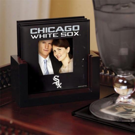 Chicago White Sox Black 4-pack Photo Coaster Set