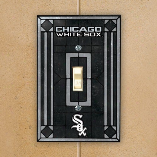 Chicago White Sox Black Art-glass Switch Plate Cover