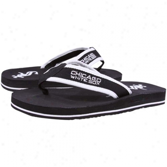 Chicago White Sox Black Contoured Flip Flops
