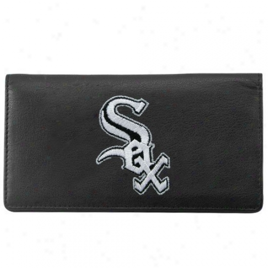 Chicago White Sox Mourning Leather Embroidered Checkbook Cover