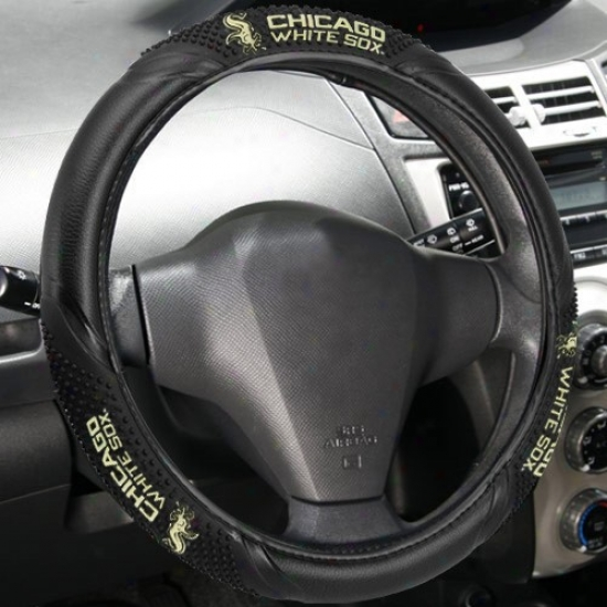 Chicago White Sox Black Vinyl Massage Grip Steering Wheel Cover
