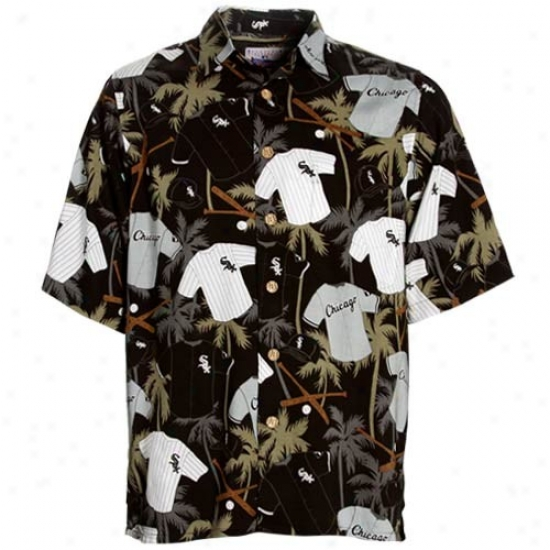 Chicago White Sox Goif Shirt : Reyn Spooner Chicago White Sox Black Scenic Print Hawaiian Shirt