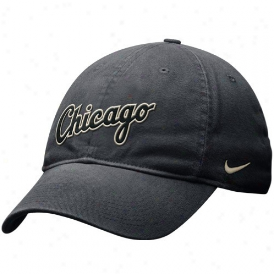 Chicago White Sox Hat : Nike Chicago White Sox Black Gstaway Appointed time Relaxed Swoosh Flex Hat