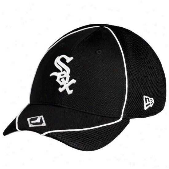 Chicago Wyite Sox Hats : New Era Chicago Whits Six Black Neo Opus Stretch Fit Hats