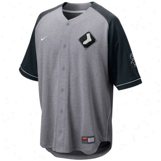 Chicago White Sox Jersey : Nike Chicago White Sox Ash-black At 'em Complete Button Baseball Jersey